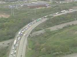 Traffic was backed up on the turnpike near the Cranberry exit.