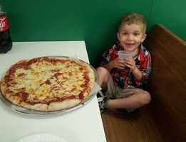 """Melissa Kuks says: """"Aiello's has been my son's favorite place to eat pizza even before he could say pizza."""""""