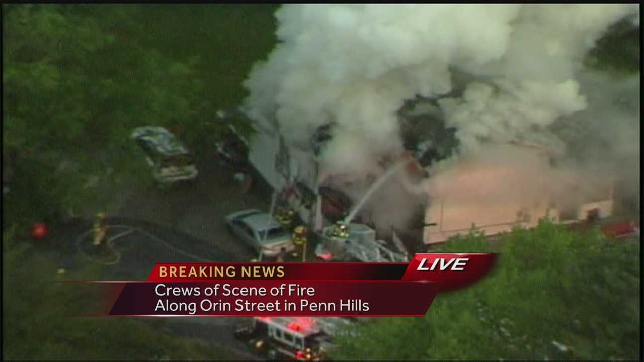 Sky 4 over Orion Street in Penn Hills where Fire Crews are battling a house fire on Tuesday morning.