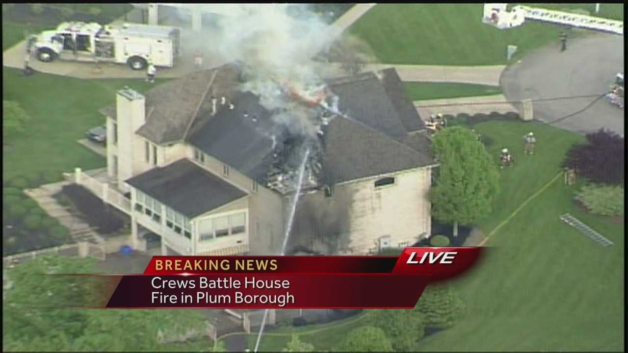 Sky 4 over a house fire in Plum Borough on Thursday afternoon.