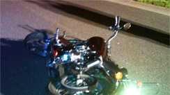 motorcycle (trooper hits deer)