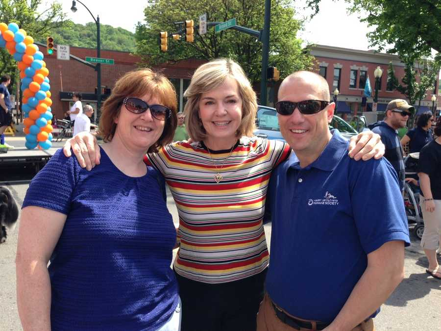 Channel 4 Action News anchor Sally Wiggin at Sewickley Unleashed with Western Pennsylvania Humane Society executive director Dave Janusek and Donna Bucek