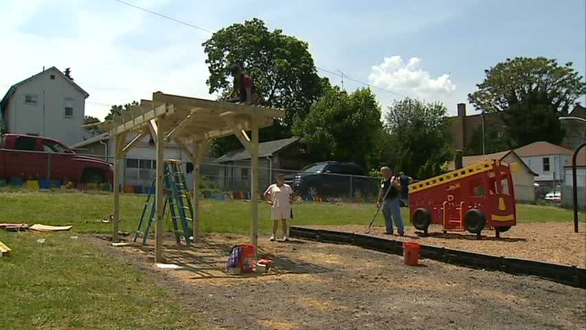 More than 200 volunteers from the Clairton Volunteer Fire Department, the Unity Group of Clairton, organizers from KaBOOM! and residents of the community came together to build a playground in one day on Saturday.