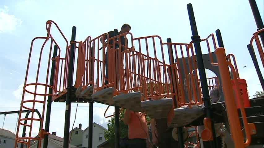 The playground's design was based on drawings created by children who participated in a Design Day event in April.