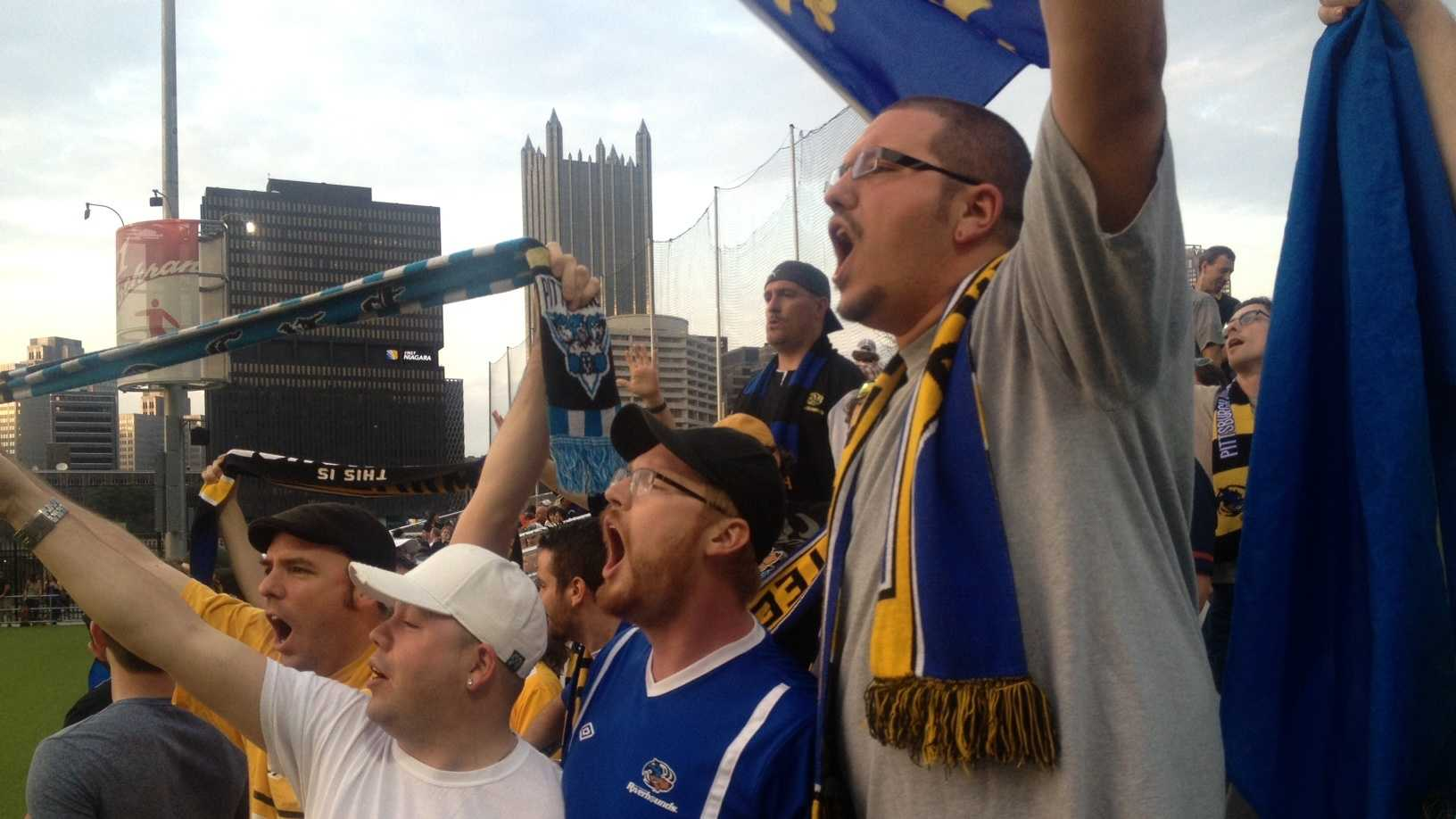"Pittsburgh's ""Steel Army"" celebrates a Riverhounds goal vs. Dayton at Highmark Stadium."