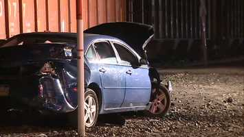 A car was struck by a train at the railroad crossing on Freeport Road in the Creighton area in East Deer Township.