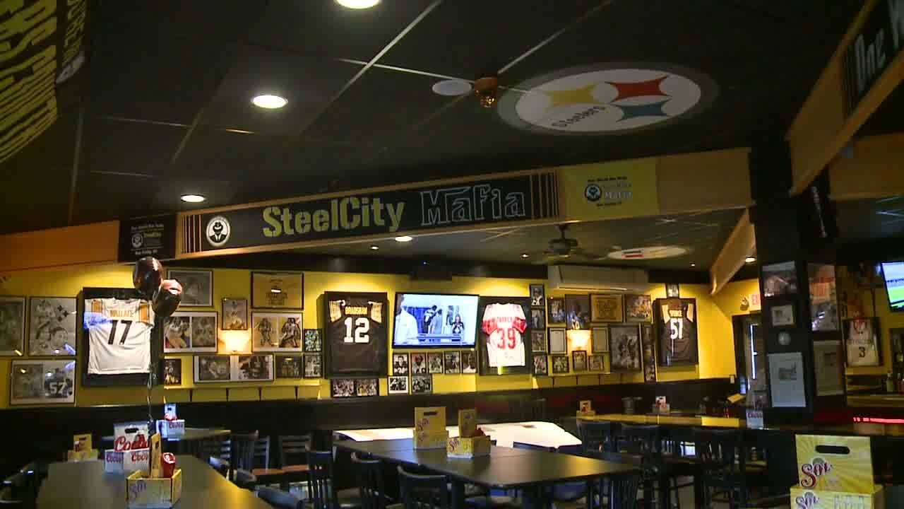 Francesco Stuppino rebuilt his Steeler bar, Cuz's Bar & Grill, with donations from football fans after the bar caught fire.