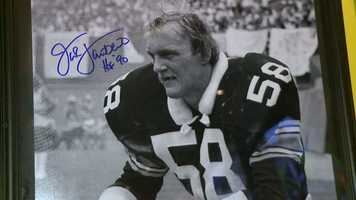 """Jack Lambert autographed a picture for Cuz and sent a note: """"Heard you had some bad luck, pick yourself up and get back in the fight."""""""