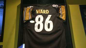 An autographed Hines Ward jersey.