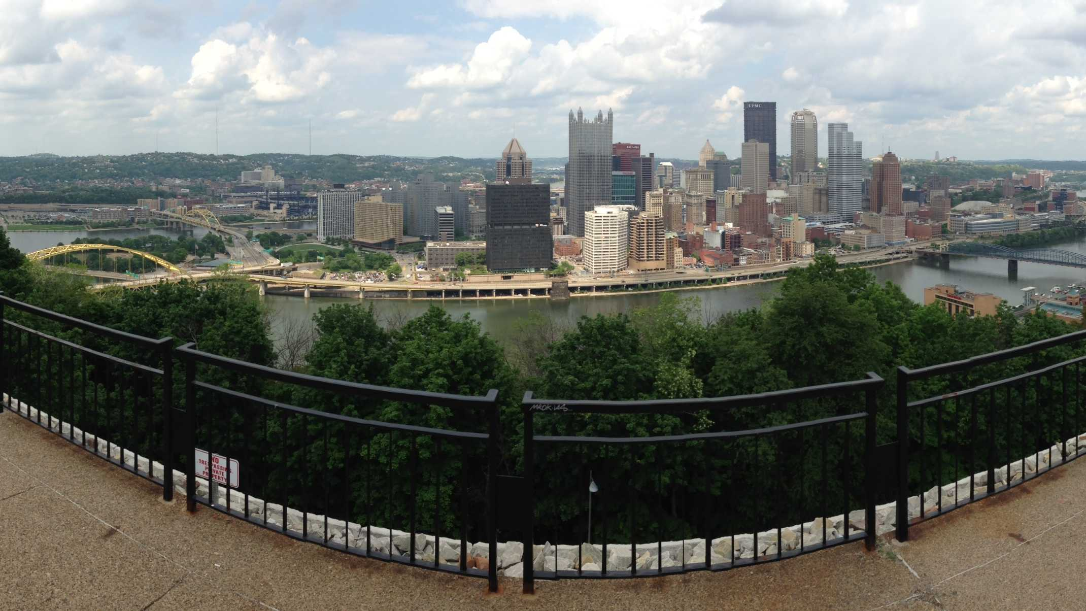 A panoramic view of downtown Pittsburgh from Mount Washington.