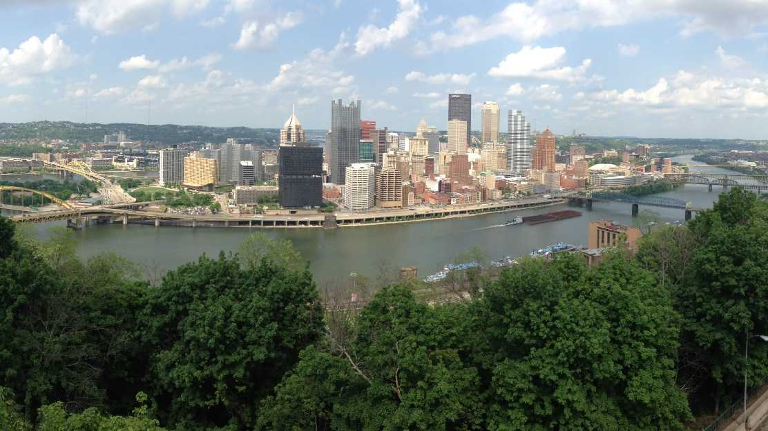 A panoramic view of downtown Pittsburgh from the West End Overlook.