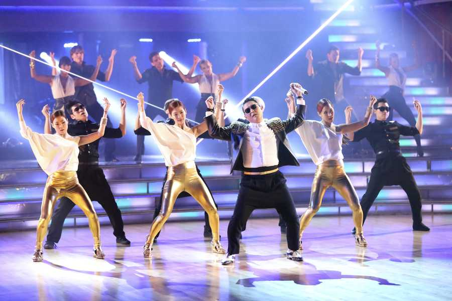 """PSY took to the stage with his latest hit, """"Gentleman,"""" on the two-hour Season Finale of """"Dancing with the Stars the Results Show,"""". (ABC/Adam Taylor)"""