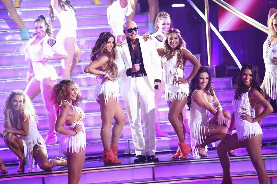 """The show featured music from Pitbull, who performed his new single, """"Hands Up,"""" on the two-hour Season Finale of """"Dancing with the Stars the Results Show,"""" (ABC/Kelsey McNeal)"""