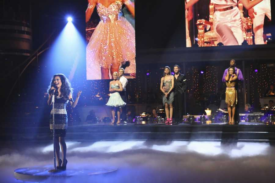 """Jessica Sanchez sang her version of Pitbull's """"Feel This Moment,"""" on the two-hour Season Finale of """"Dancing with the Stars the Results Show,"""" (ABC/Adam Taylor)"""