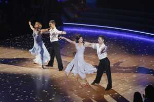"HENRY BYALIKOV, DOROTHY HAMILL, KRISTI YAMAGUCHI, SASHA FARBER - The returning stars performed a show-stopping opening number with the pro and troupe dancers, on the two-hour Season Finale of ""Dancing with the Stars the Results Show,"". (ABC/Adam Taylor)"