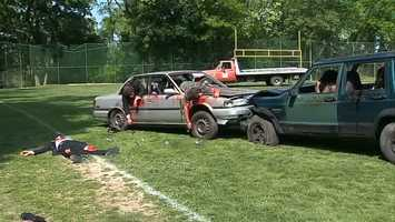 Carrick High School students were shown the dangers of drinking and driving in a mock DUI crash on Wednesday. (WARNING: Even though the event was staged and the blood is fake, some of the photos are graphic)