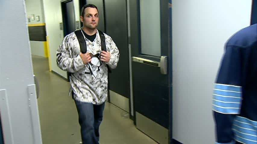 Pirates catcher Michael McKenry sporting a camouflage Penguins jersey