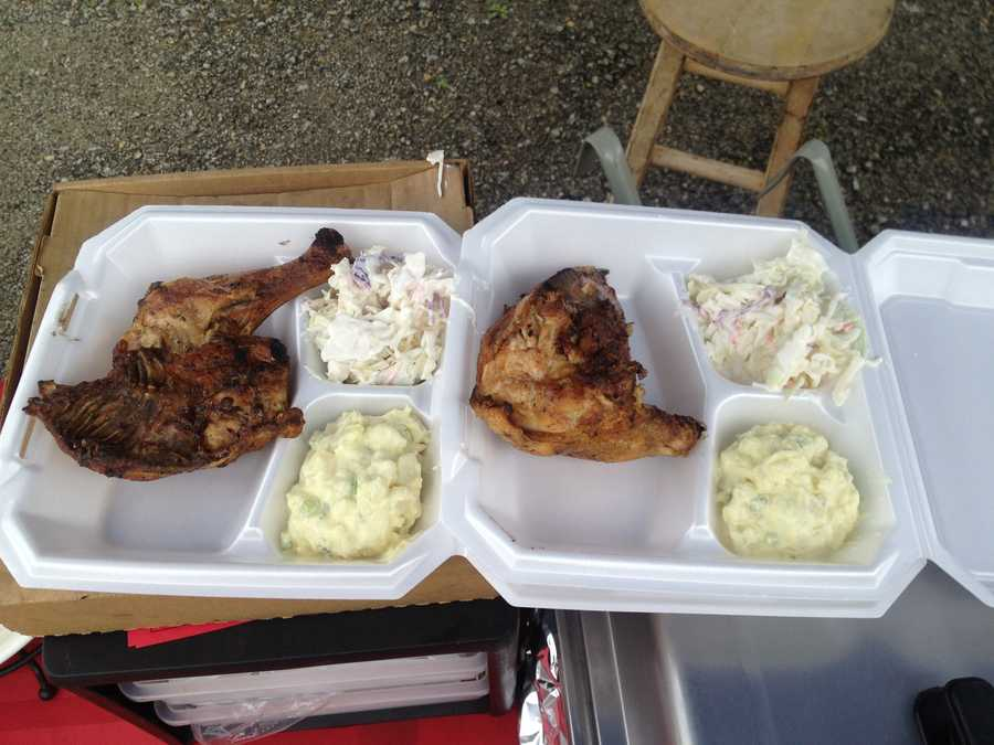 BBQ chicken, mashed potatoes and cole slaw