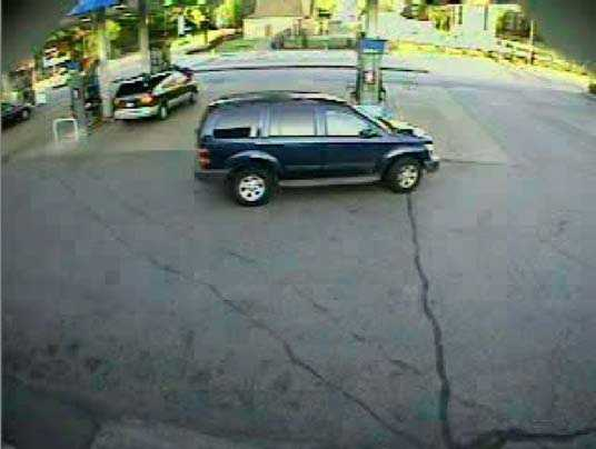 The woman reported that her credit cards were in the purse. Plainclothes detectives tracked the card usage at the North Side Sunoco gas station on Cedar Avenue, where this vehicle was filled up with gas on the morning of May 12.