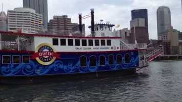 The Three Rivers Queen was christened and set sail from the dock at Station Square. (Click here for video.)