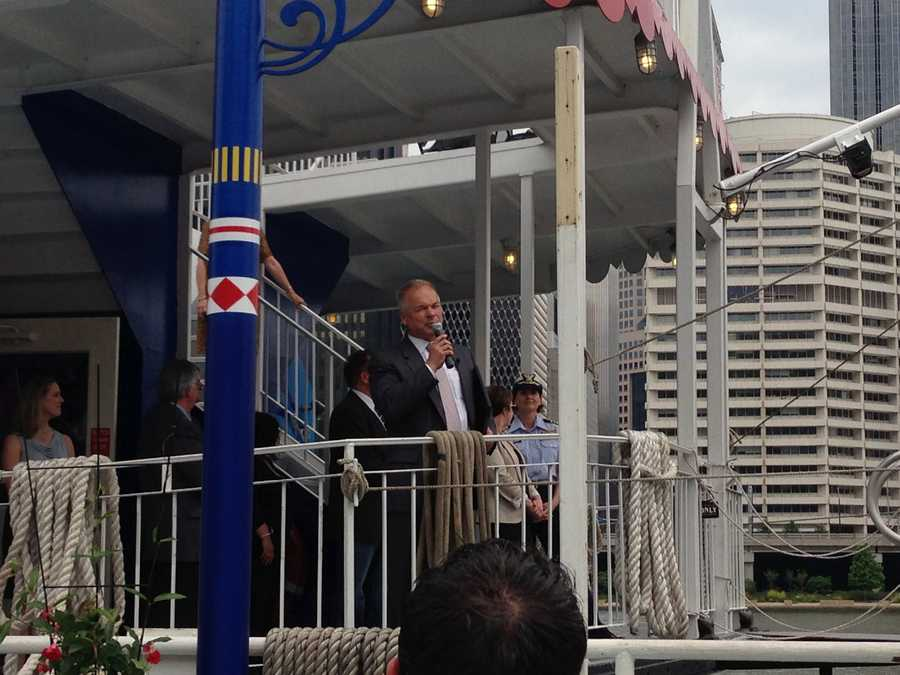 The Gateway Clipper Fleet is celebrating its 55th year of cruising Pittsburgh's three rivers. President Terry Wirginis led the christening of the Three Rivers Queen.