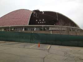 Today in 2013, the Civic Arena'sroof is literally gone, along with the rest of the demolished building.