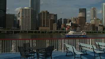Downtown Pittsburgh, as seen from the Gateway Clipper Fleet at Station Square.
