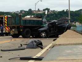 Action News' Reporter Amber Nicotra and Photographer John McKee sent back these photos from this morning's accident on the McKees Rocks Bridge.