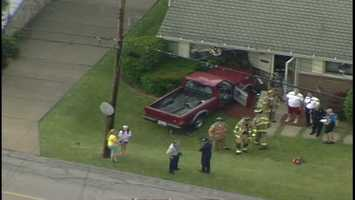 A pickup truck smashed into a home in Ross Township on Monday afternoon.