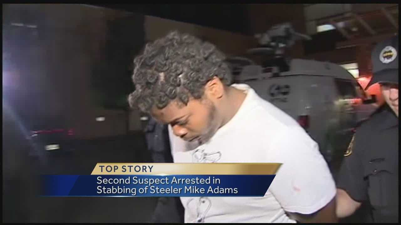 Second suspect arrested in the stabbing of Pittsburgh Steeler Mike Adams overnight. Action News' Amber Nicotra has the latest.