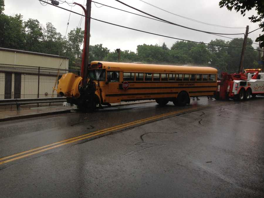 After the initial crash impact, the bus driver swerved and hit a utility pole, Pugh said.