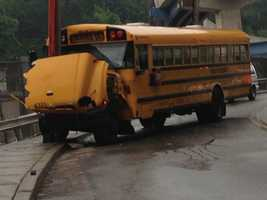 A school bus and a car collided in the Mount Washington/Beltzhoover area of Pittsburgh on Thursday morning.