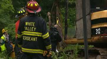 Westmoreland County Animal Response Team members met firefighters from White Valley in Murrysville to pull the female horse from the ravine. Landscapers called 911 after noticing the animal was stuck in the brush.