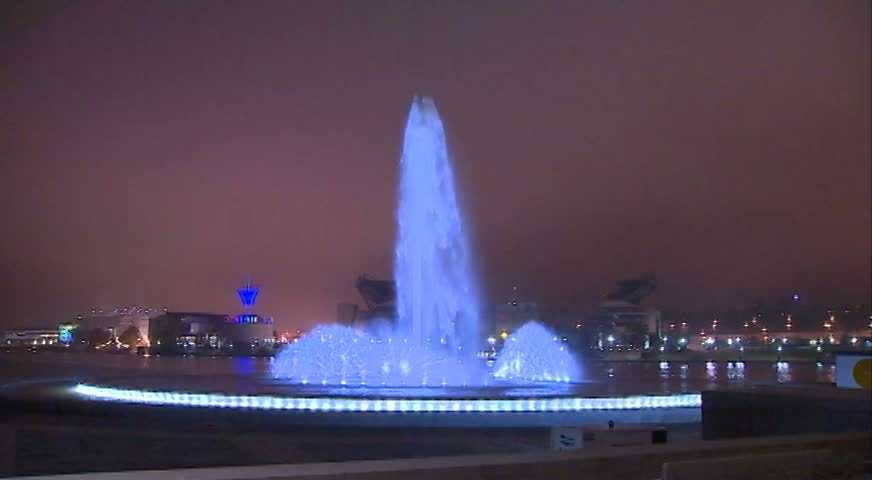 The fountain at the Point sparkles in downtown Pittsburgh.