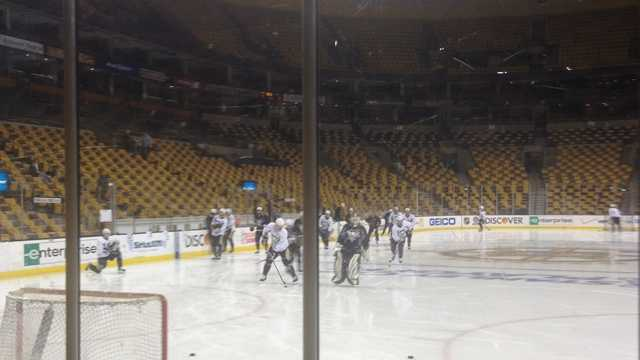 The Penguins practice for Game 4 against the Boston Bruins at TD Garden.