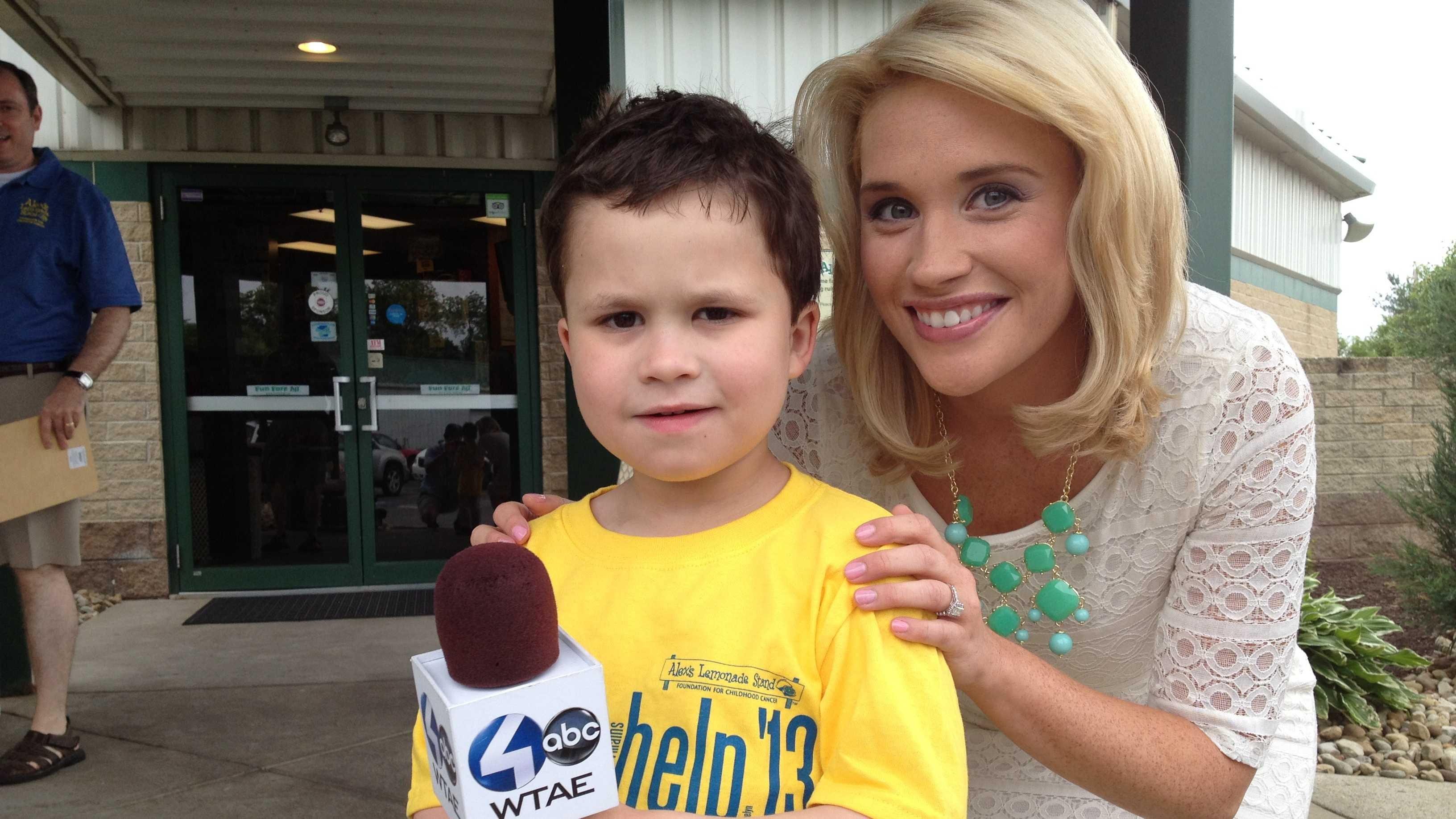 Channel 4 Action News' Jackie Schafer with 5-year-old Cory Efremenko, who is fighting leukemia