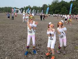 Runners in the Color Me Rad 5k at The First Niagara Pavilion were encouraged to start the race wearing clean white T-shirts.  At the end of the race, those T-shirts were coated with color.