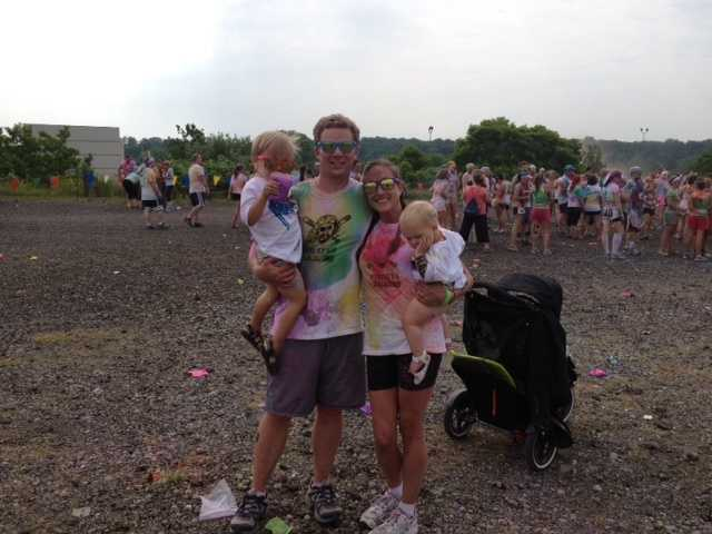 Channel 4 Action News reporter Bob Hazen with his family at Color Me Rad