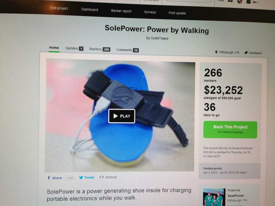SolePower on Kickstarter: Almost halfway to their goal in just over a week.