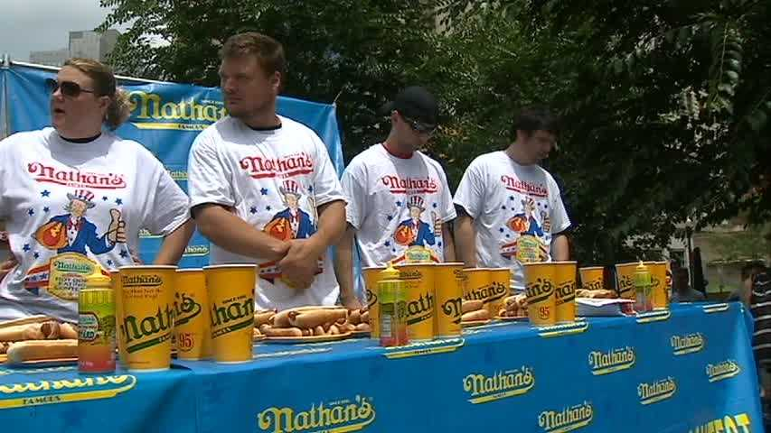 An estimated 40,000 fans have traveled to Coney Island to watch the Nathan's Famous Fourth of July Hot Dog Eating Contest in person.