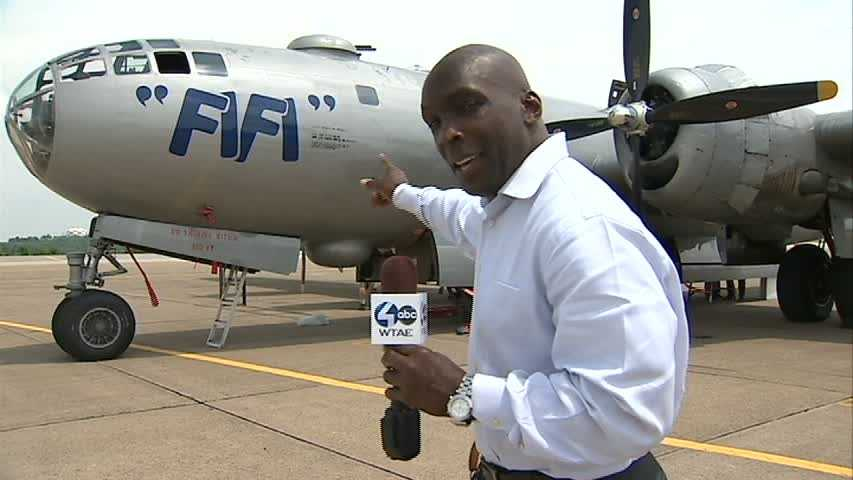 FIFI, the only flying Boeing B-29 Superfortress bomber, landed at the Allegheny County Airport on Wednesday.
