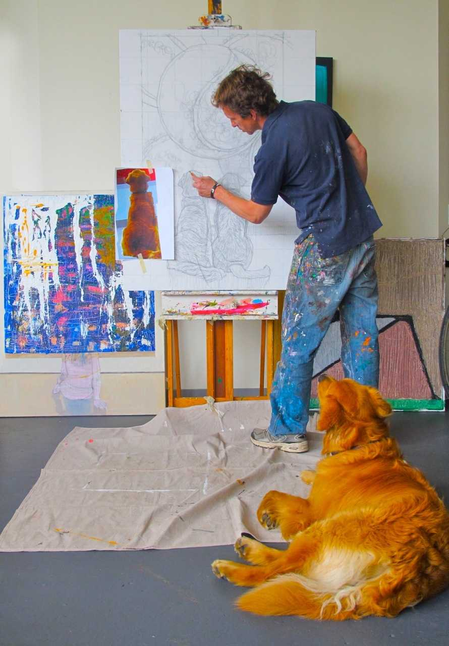 """Back in January, artist Tom Mosser created a painting of his faithful canine companion, Lucas. The dog was staring at a painting of a tennis ball. It was titled, """"A Golden Retriever at the Museum."""""""