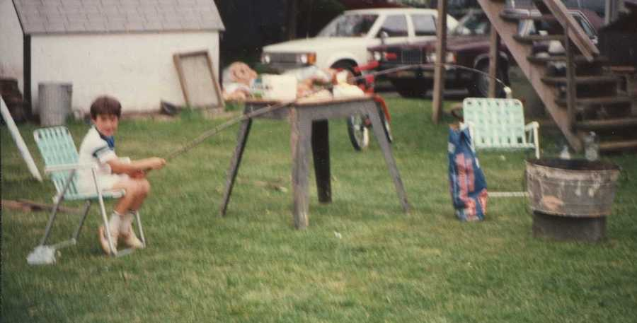 As a reporter, Matt doesn't like taking 'no' for an answer. And that started early too! In this picture, a young and resourceful Matt found a way around his mother not allowing him close enough to a bonfire to roast a marshmallow by finding the biggest branch in the yard! His family still laughs about this one!