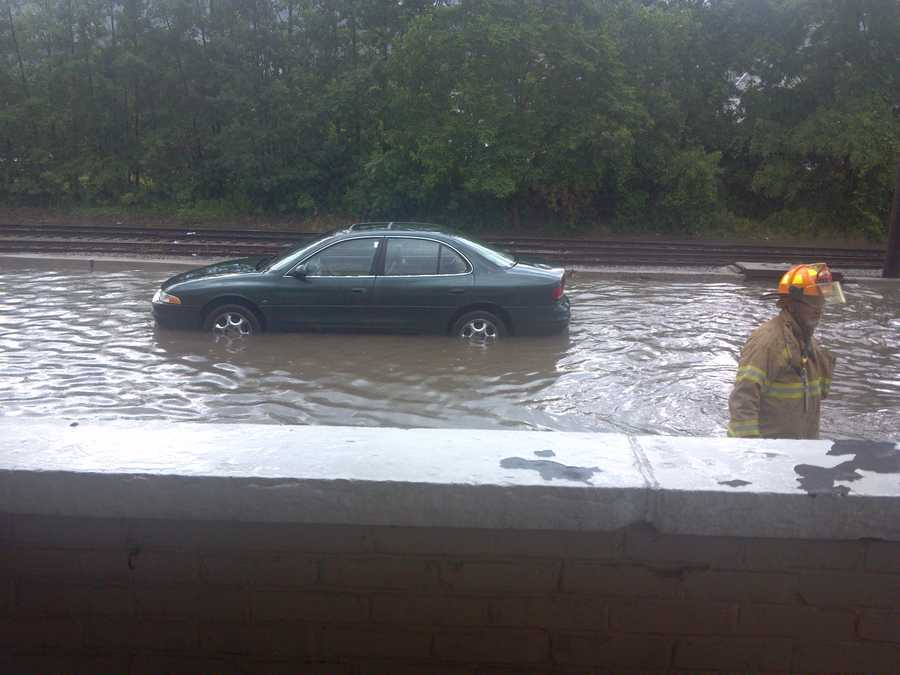 Flash flooding stopped cars and pushed others down the road when fast-moving rainstorms passed through New Kensington on Tuesday afternoon.