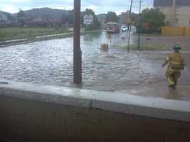 Rachel Offredi told Channel 4 Action News' Kelly Brennan that a family had to evacuate a car when it stalled in the water along Constitution Boulevard and North Street.