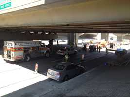 A worker was in critical condition after somehow being injured below the East Ohio Street overpass on Interstate 279 in Pittsburgh.