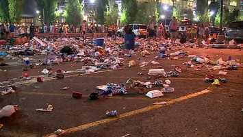 Outside Heinz Field, thousands of Kenny Chesney tailgaters left the North Shore parking lots a total mess.