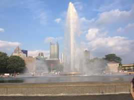 The water for the fountain at Point State Park is fed from a glacial formation that sprays 6,000 gallons per minute.