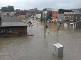 Photo courtesy of Tri-State Weather of downtown DuBois in Clearfield County with the flooding today. Areas of Jefferson County are also flooded with road closures in the region. Latest details at: http://on.wtae.com/122R6PP