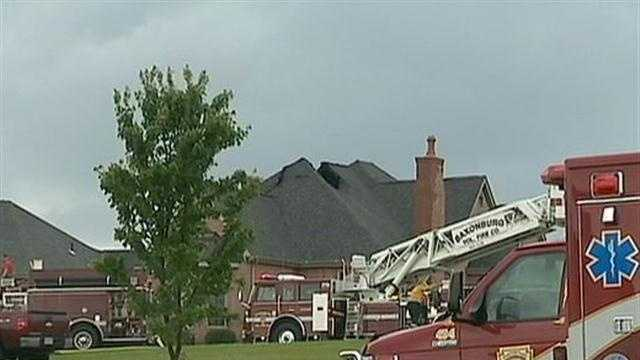 Lightning struck the chimney of a Sarver, Pa., home around dinnertime while a woman and her friend were inside.